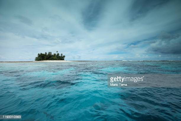 An islet is viewed in the Funafuti atoll on November 26, 2019 in Funafuti, Tuvalu. Thelow-lyingSouth Pacific island nationof about 11,000 people...