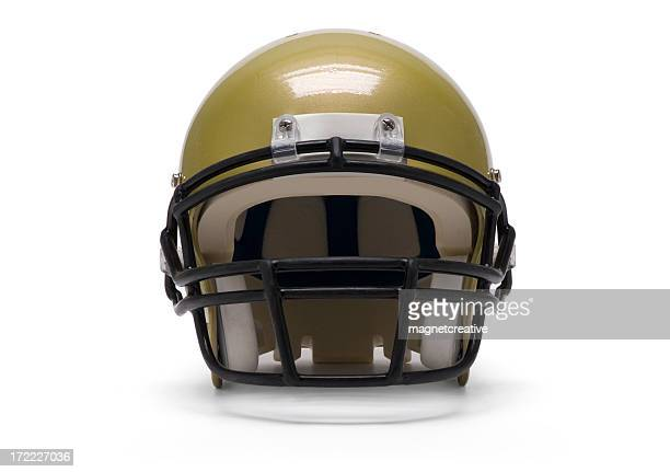 An isolated gold football helmet