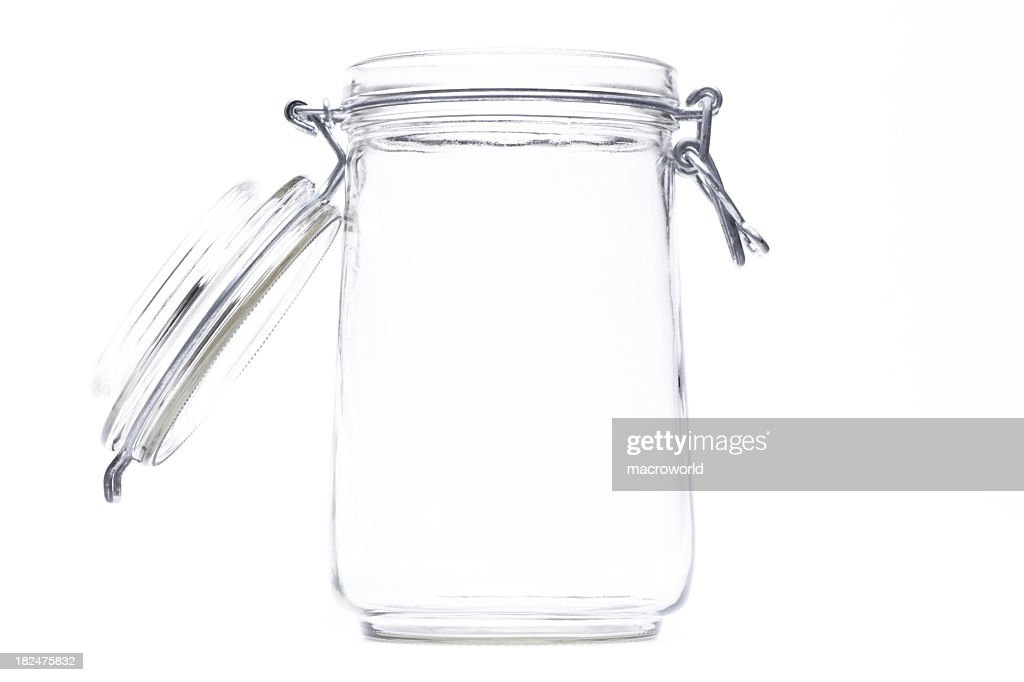 An isolated jar with an open lid : Stock Photo