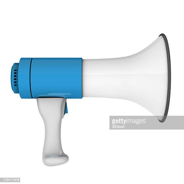 An isolated white and blue megaphone on a white background
