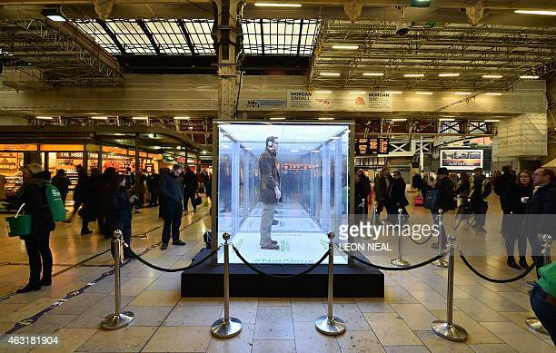 An 'Isolation box' is pictured at Paddington Station in central London on February 11 during a photocall by Macmillan Cancer Support to highlight new...