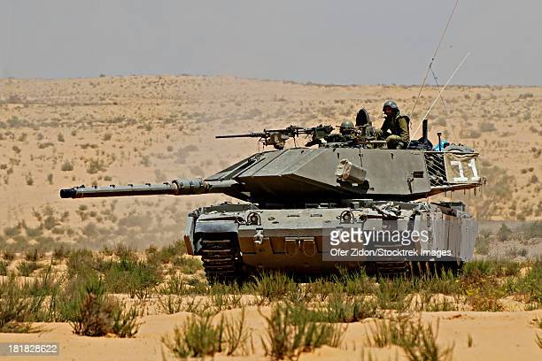 An Israel Defense Force Magach 7 main battle tank during an exercise in the Negev desert, Israel.