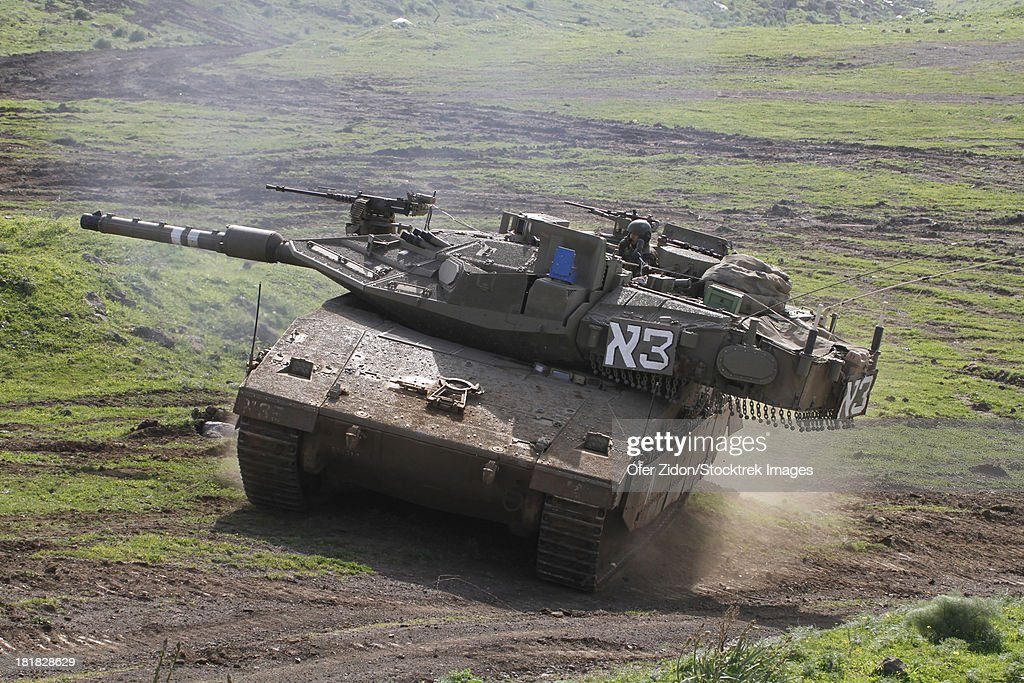 an-israel-defense-force-merkava-mark-iv-main-battle-tank-during-an-picture-id181828629