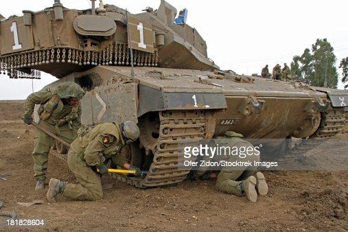 An Israel Defense Force Merkava Mark Iv Main Battle Tank