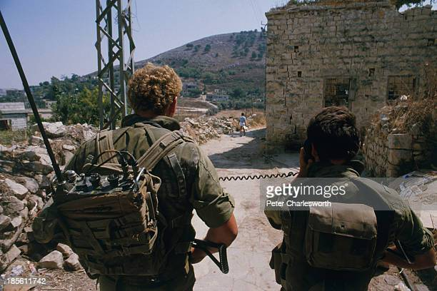 An Israel Defense Force patrol in Nabatieh - Israeli soldiers were occupying what they saw as a buffer zone in sourthern Lebanon, north of the border...