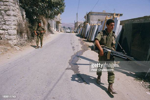 An Israel Defense Force patrol in Nabatieh Israeli soldiers were occupying what they saw as a buffer zone in sourthern Lebanon north of the border...