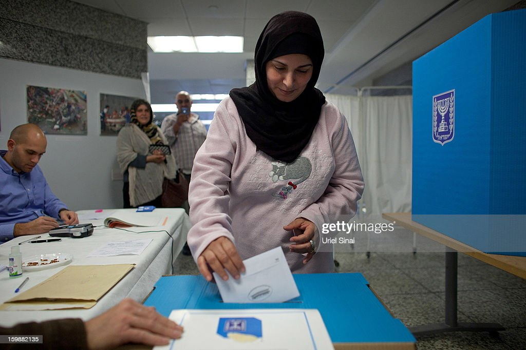 An Israeli Arab patient casts her vote at the Ichilov hospital during the Israeli General Election on January 22, 2013 in Tel Aviv, Israel. The latest opinion polls suggest that current Prime Minister Benjamin Netanyahu will return to office, albeit with a reduced majority.