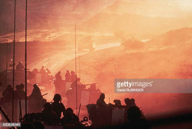 An Israeli armored brigade makes it's way up to the Golan Heights to relieve the forces under Syrian attack at dawn of day two of the Yom Kippur War...