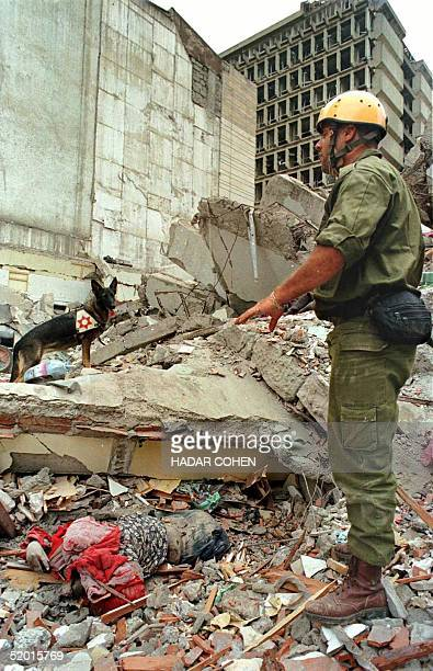 An Israeli Army rescue expert watches his sniffer dog after it uncovered a dead woman on the top of the collapsed building next to the US Embassy in...
