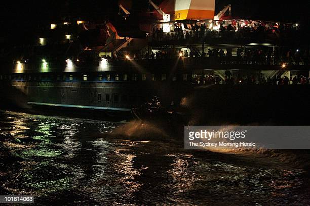 An Israeli assault vessel heads towards the Turkish passenger ship Mavi Marmara moments before the battle for the ship as the Israeli Navy intercepts...