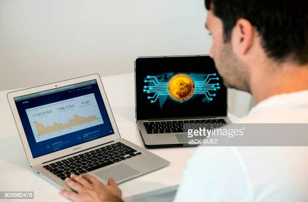 An Israeli consultant trades the cryptocurrency bitcoin online in the Israeli city of Tel Aviv on January 17 2018 At the end of 2017 Israel...