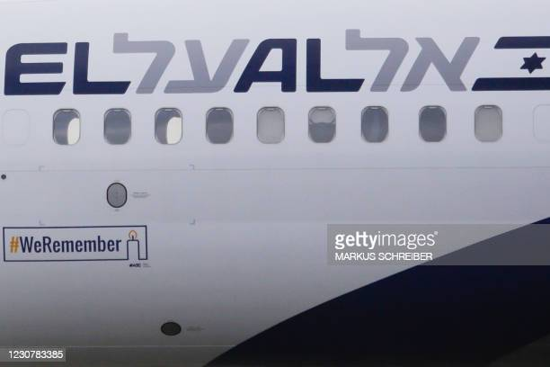 An Israeli El AL plane with the slogan '#WeRemember' in support of the campaign for the International Holocaust Remembrance Day, arrives from Tel...
