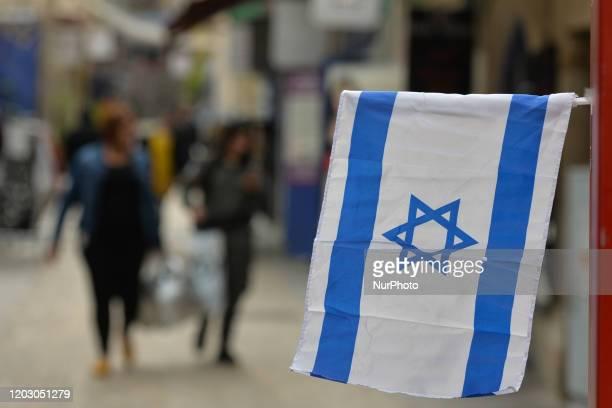 An Israeli flag seen in Jerusalem Center On Monday February 24 in Jerusalem Israel