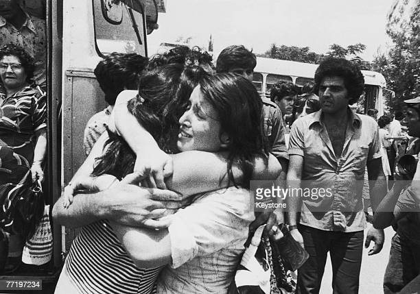 An Israeli hostage is greeted on her return to Israel after Operation Entebbe on 3rd July 1976 in which Israeli special forces rescued 100 hostages...
