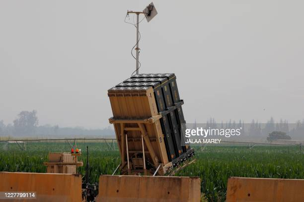 An Israeli Iron Dome defence system battery, designed to intercept and destroy incoming short-range rockets and artillery shells, in pictured in the...