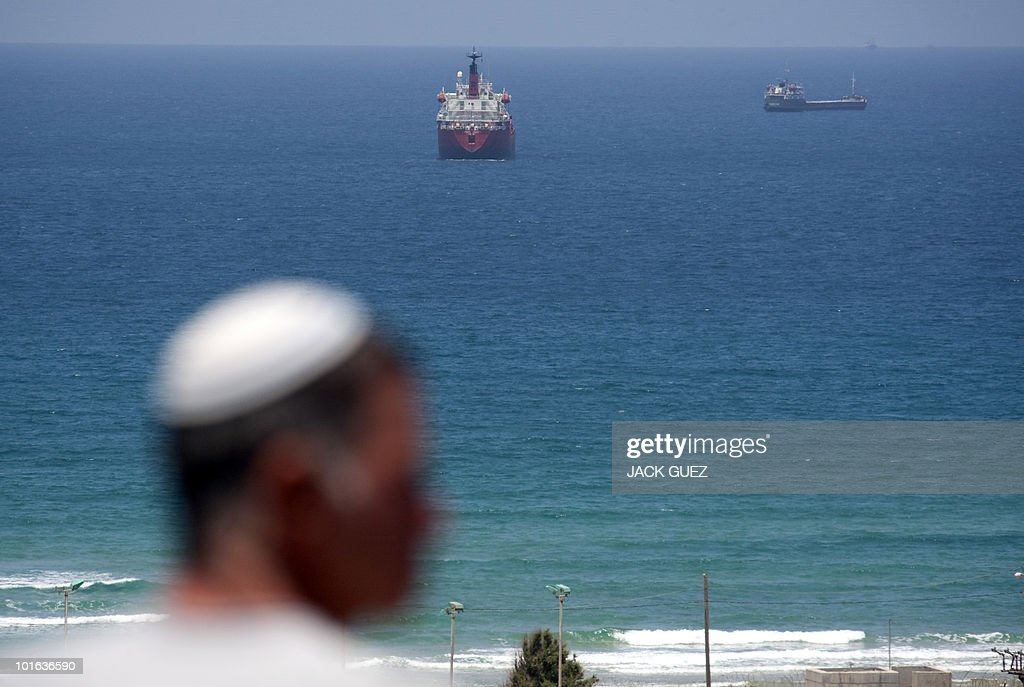 An Israeli man looks over the port of Ashdod in south Israel on June 5, 2010. Israeli troops boarded the Rachel Corrie aid ship heading for Gaza, but there was no violent confrontation, a military spokeswoman said.