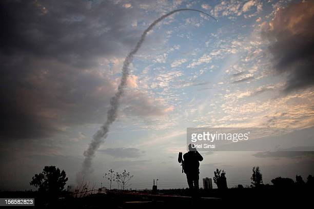 An Israeli missile from the Iron Dome defence missile system is launched to intercept and destroy incoming rocket fire from Gaza on November 17, 2012...