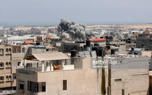 An Israeli missile hits an area in Rafah, southern Gaza Strip, Wednesday. The Israeli army on Wednesday intensified its offensive on the Hamas-run...