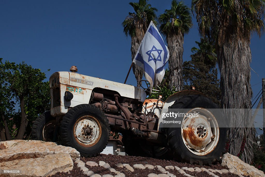 An Israeli national flag sits on a monument celebrating Israel's landmark traditional agriculture at the entrance to the village of Kfar Pines, Israel, on Wednesday, Sept. 21, 2016. Breath of Life is one of eight licensed firms seeking to position Israel as a global hub for medical cannabis research. Photographer: Rina Castelnuovo/Bloomberg via Getty Images