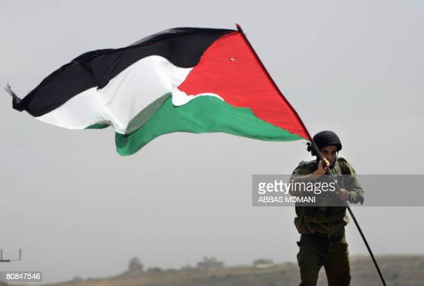 An Israeli soldier removes a Palestinian flag previously placed by a peace activist at the Jewish wildcat outpost of Yad Yair during a protest...