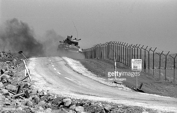 An Israeli tank patrols a stretch of the northern border October 11 1973 on the Golan Heights during the Yom Kippur War Israeli Prime Minister Ariel...