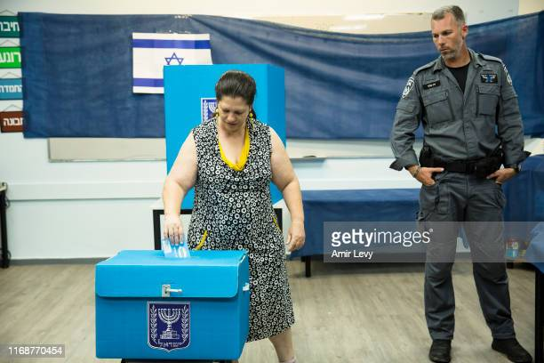 An Israeli woman casts her vote on September 17 2019 in Rosh Haayin Israel Israelis are heading to the polls for a second time this year after Prime...