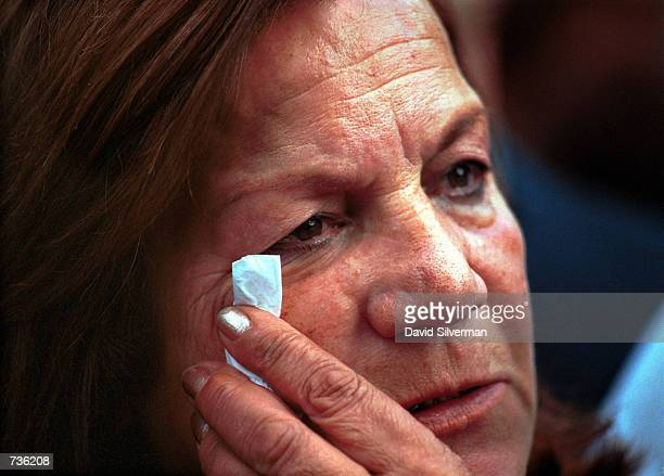 An Israeli woman cries during the funeral service for Leah Rabin, wife of assassinated former Prime Minister Yitzhak Rabin, November 15, 2000 in Tel...