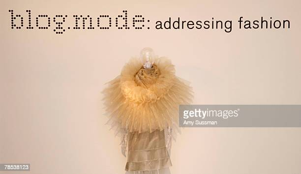 An Issey Miyake Staircase Pleats is displayed at the Blogmode addressing fashion exhibit at the Metropolitan Museum of Art's Costume Institute on...