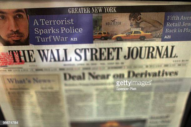 An issue of The Wall Street Journal is viewed in a vending machine on April 26 2010 in New York City The Wall Street Journal commenced a New York...