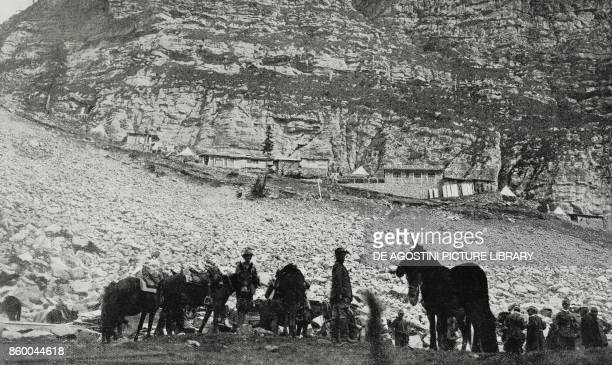 An Italian command post in the Bovec basin Slovenia World War I from L'Illustrazione Italiana Year XLII No 41 October 10 1915