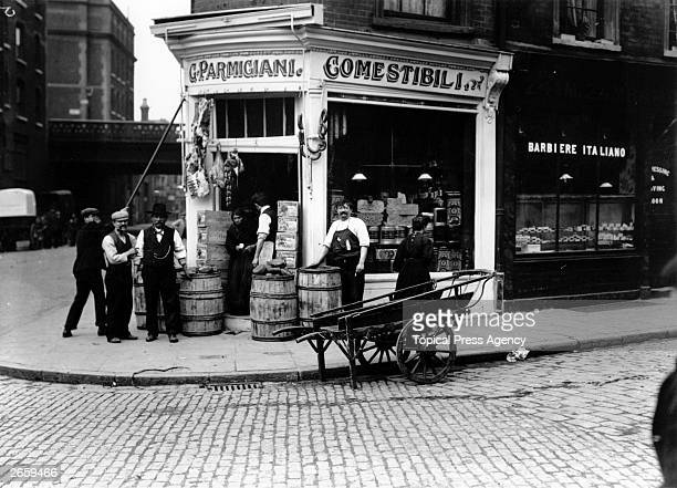 An Italian delicatessen in the Italian immigrant area of London's East End.