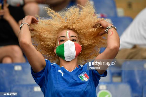 An italian fan cheers on prior to the Uefa Euro 2020 Group A football match between Italy and Switzerland. Italy won 3-0 over Switzerland.