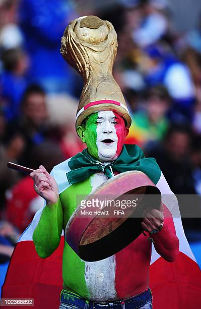 An Italian fan enjoys the atmosphere before the 2010 FIFA World Cup South Africa Group F match between Slovakia and Italy at Ellis Park Stadium on...