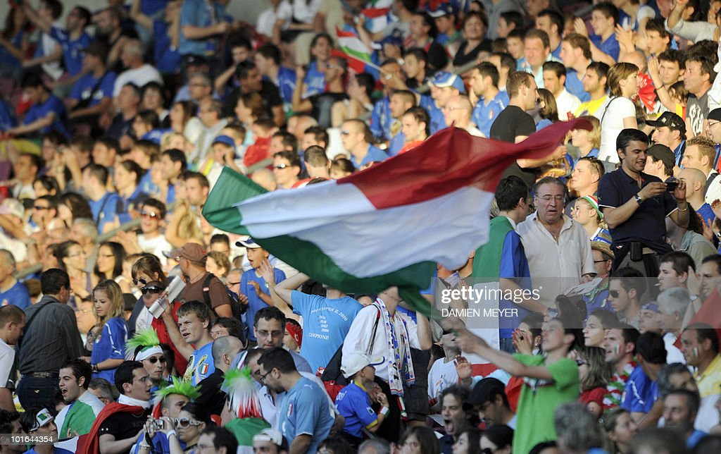 An Italian fan wave a flag during the friendly football match between Switzerland and Italy at Geneva's stadium on June 5, 2010, ahead of the FIFA 2010 World Cup in South Africa.