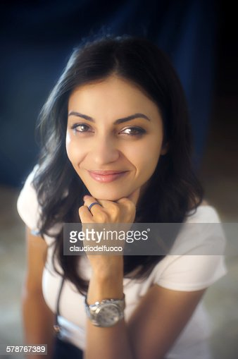 An Italian Girl With Black Hair High Res Stock Photo