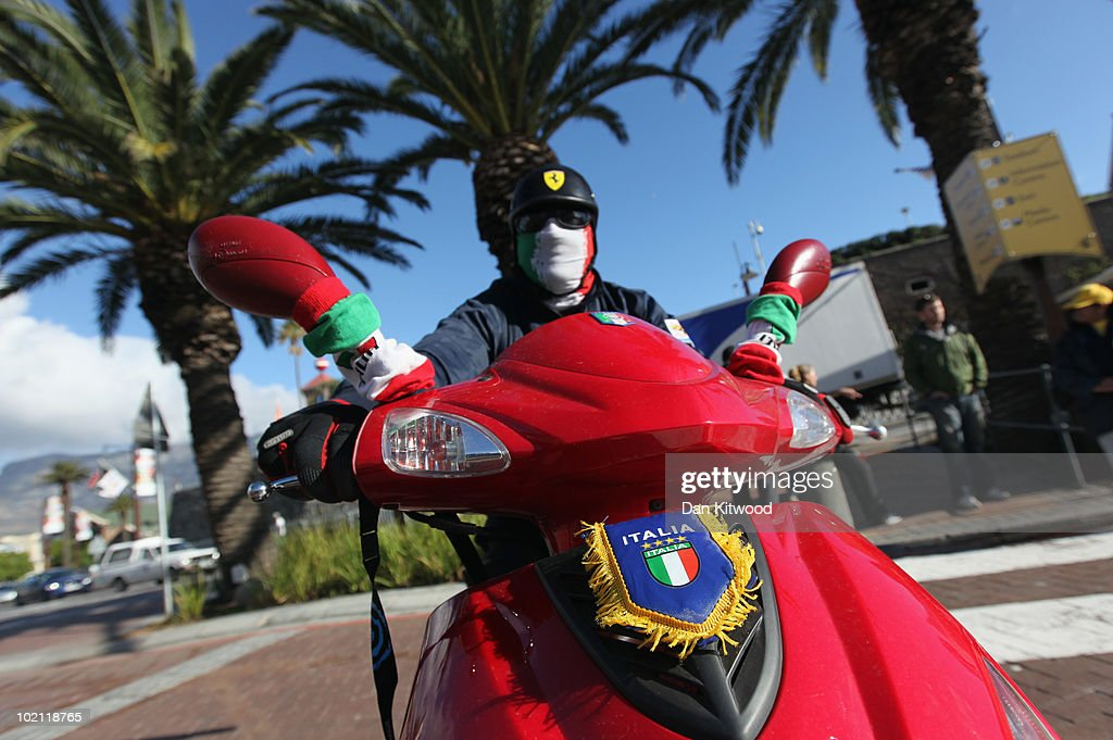 An Italian man arrives at Cape Town's Waterfront on a motorbike on June 15, 2010 in Cape Town, South Africa.