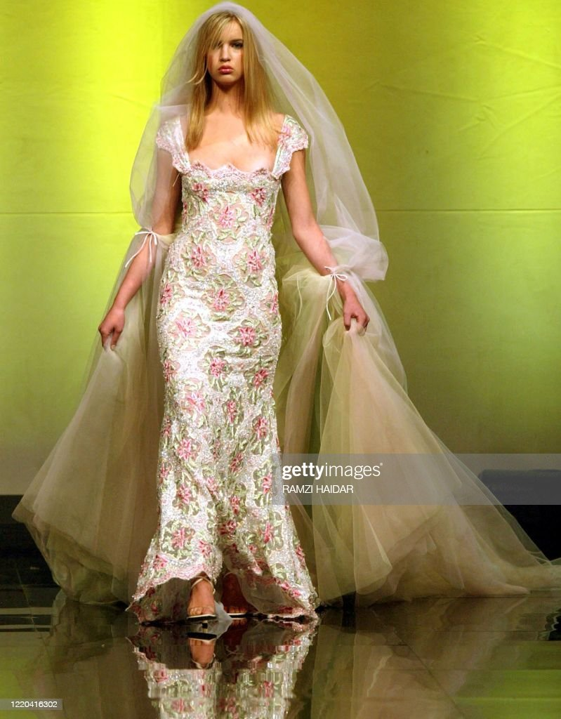 An Italian Model Shows Off A Wedding Gown By Lebanese Designer Abed News Photo Getty Images