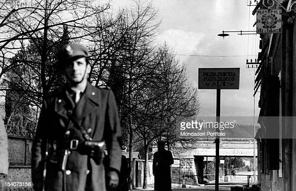 An Italian officer of the Border Patrol guarding the frontier between Italy and Yugoslavia Gorizia 1950