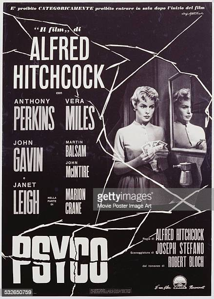 An Italian poster for Alfred Hitchcock's 1960 horror film 'Psycho' starring Janet Leigh