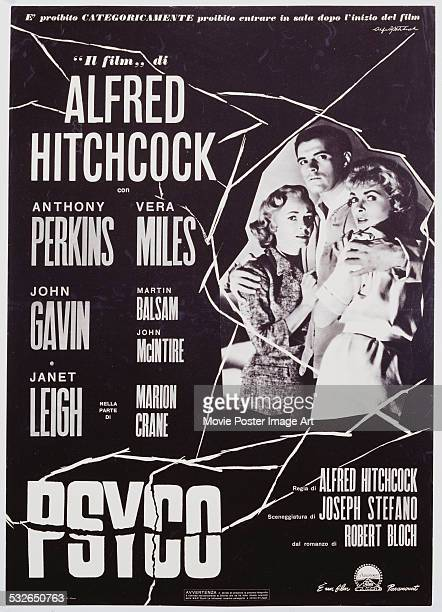 An Italian poster for Alfred Hitchcock's 1960 horror film 'Psycho' starring Janet Leigh Vera Miles and John Gavin