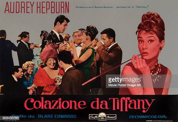 An Italian poster for Blake Edwards' 1961 romantic comedy 'Breakfast at Tiffany's' starring Audrey Hepburn
