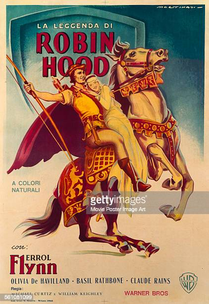 An Italian poster for Michael Curtiz and William Keighley's 1938 action film 'The Adventures of Robin Hood' starring Errol Flynn and Olivia de...