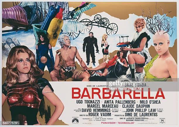 An Italian poster for Roger Vadim's 1968 adventure film 'Barbarella' starring Ugo Tognazzi, Jane Fonda, Marcel Marceau, and Anita Pallenberg.