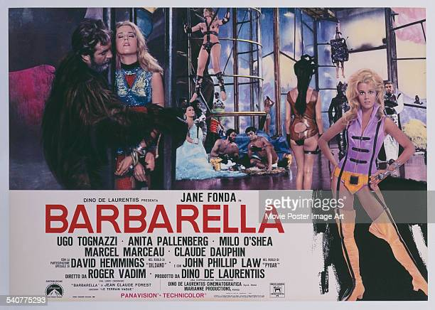 An Italian poster for Roger Vadim's 1968 adventure film 'Barbarella' starring Jane Fonda and Ugo Tognazzi