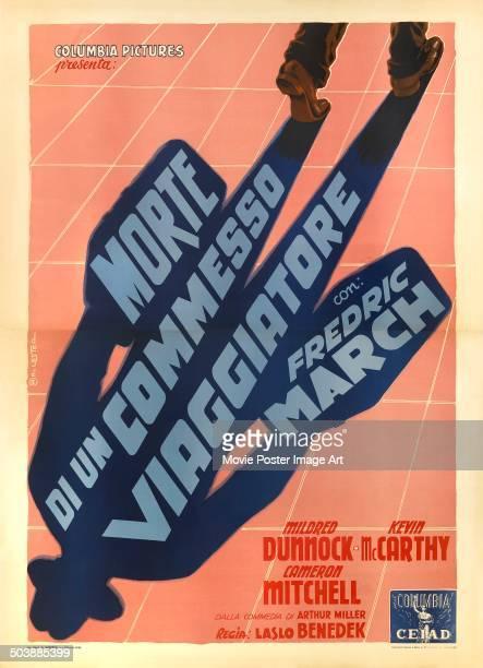 An Italian poster for the Columbia Pictures movie 'Death of a Salesman' titled 'Morte di un commesso viaggiatore' 1951 The film stars Fredric March...