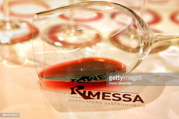 An Italian red wine is served during a wine and food pairing dinner at the Rimessa Roscioli restaurant on December 8 2017 in Rome Italy The...