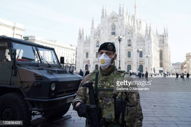 An Italian soldier is wearing a fpp3 mask in Duomo Square on February 24 2020 in Milan Italy Italian government takes security measures in Lombardy...