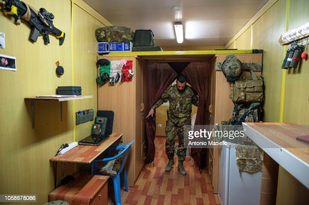 An Italian soldier stands in his room and gets ready to go at work on November 7 2018 in Herat Afghanistan The Italian instructors of Italian Army in...