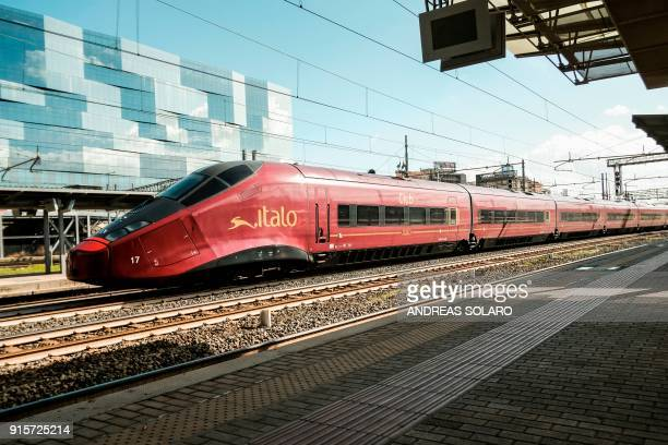 An Italo NTV train crosses the Tiburtina station in central Rome on February 8 2018 The shareholders of Italian railways group ITALO have accepted on...