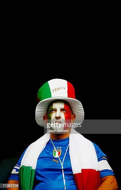 An Italy fan waits for the action to begin prior to the FIFA World Cup Germany 2006 Group E match between Czech Republic and Italy played at the...